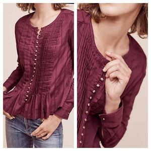 Maeve anthro gelise pleated button blouse